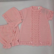 Load image into Gallery viewer, Baby Girl's Knitted Spanish Style Dress, Bonnet and Knickerbockers Pink or White -7501