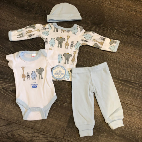 Newborn Baby 4 Piece 100% Cotton Outfit Blue & White- New Arrival