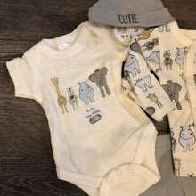 Load image into Gallery viewer, Newborn Baby 4 Piece 100% Cotton Outfit Grey & Ivory- New Arrival