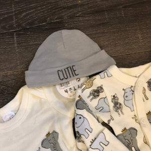 Newborn Baby 4 Piece 100% Cotton Outfit Grey & Ivory- New Arrival