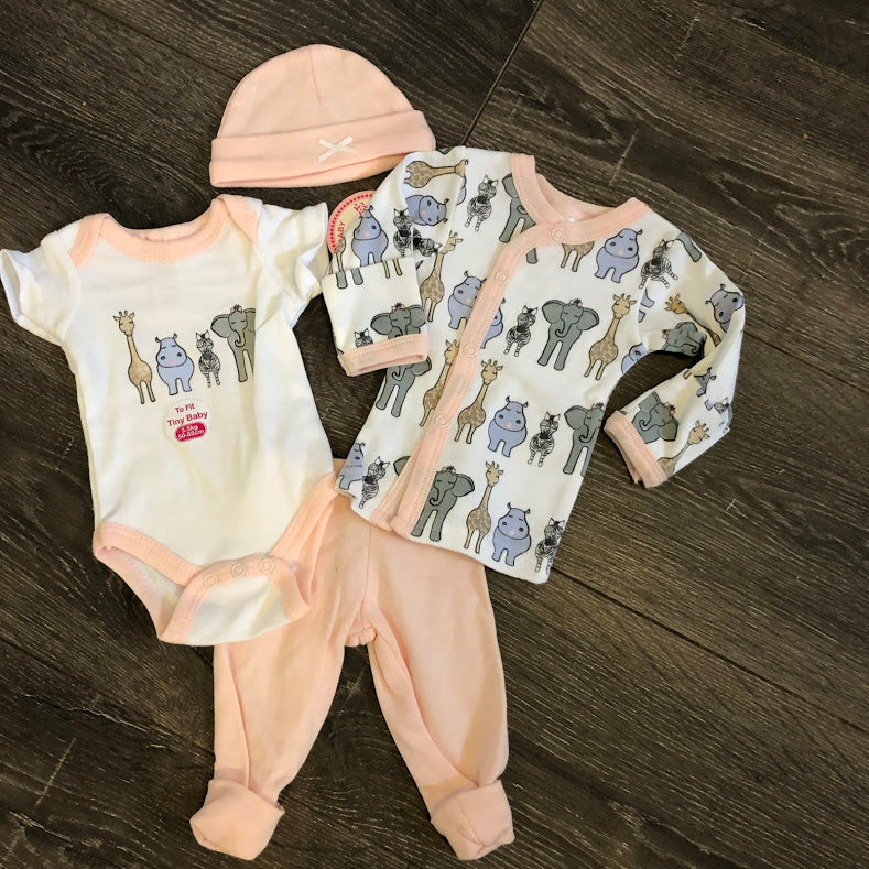 Newborn Baby 4 Piece 100% Cotton Outfit Pink & White- New Arrival
