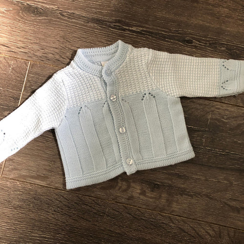 Tiny Baby or Premature Baby Boy's Cardigan with Round Neck in Pale Blue