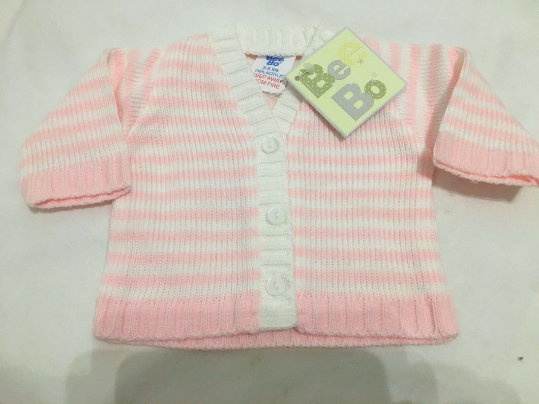 Tiny Baby or Premature Baby Girl's Cardigan Pink & White Stripes