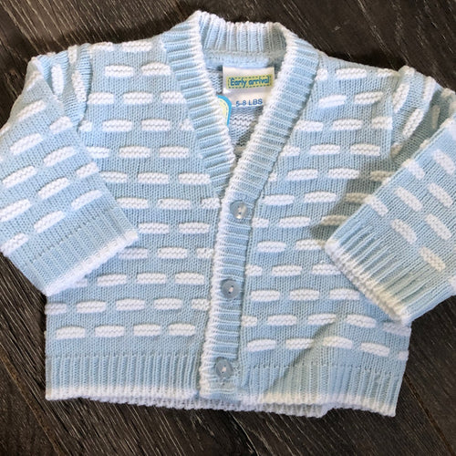 Tiny Baby or Premature Baby Boy's V Neck Pale Blue & White Cardigan