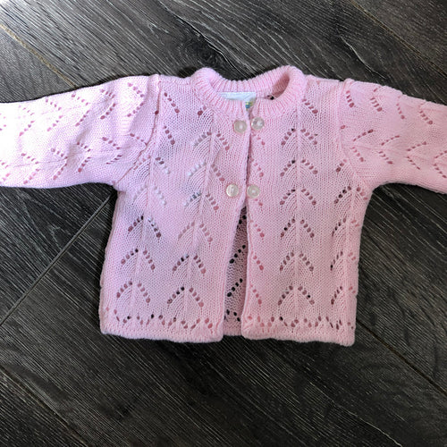 Tiny Baby or Premature Baby Girl's Cardigan in Pink
