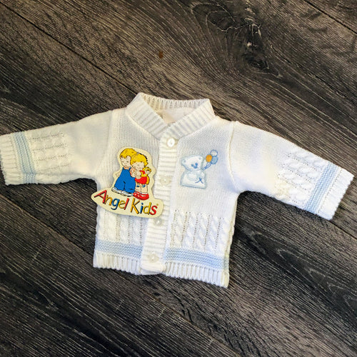 Tiny Baby or Premature Baby Boy's Cardigan in White & Pale Blue-teddy motif New Arrival