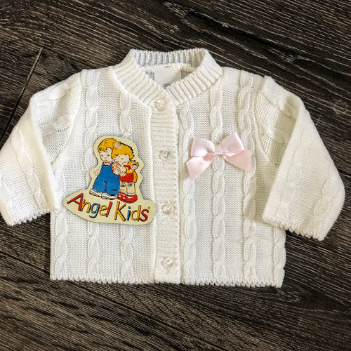 Tiny Baby or Early Baby Girl's Cardigan White Pink Bow- NEW ARRIVAL