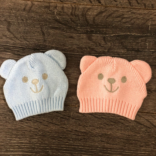 Tiny Baby or Prem Baby Boy's or Girl's Hats Knitted Cotton Pink or Blue