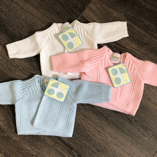 Tiny Baby or Premature Baby Boy's or Girl's Cardigan in Pale Blue, Pink  & White