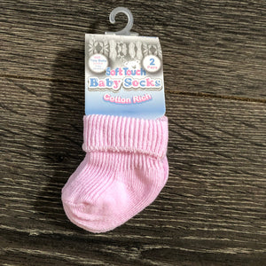 Tiny Baby or Premature Baby Socks Pink or Blue ( Pack of 2 pairs ) NEW ARRIVAL