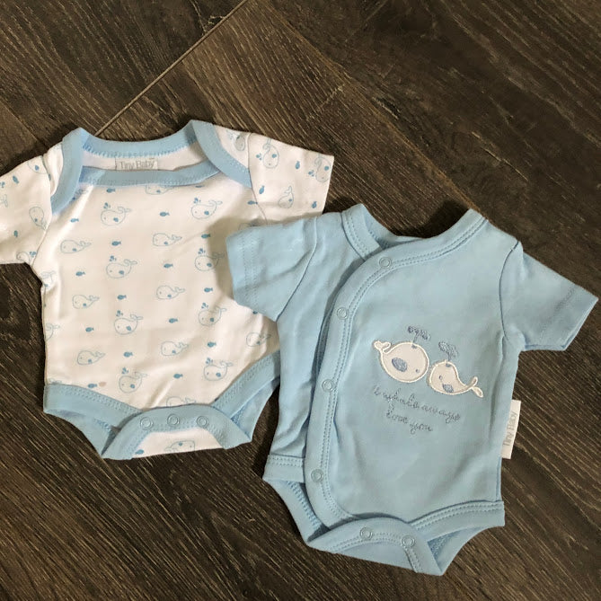 Tiny or Premature Baby Vests Blue