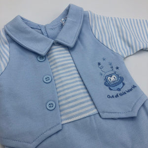 Baby Boy's Premature Baby Tiny Baby Outfit- Blue & White