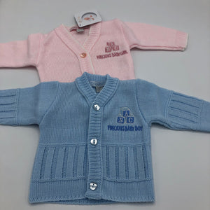 Baby Boy's or Girl's Premature Prem Tiny Baby Cardigans Pink or Blue