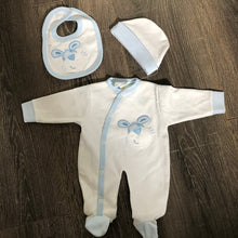 Load image into Gallery viewer, Tiny Baby Premature Baby Outfit Sets White & Blue 100% Cotton