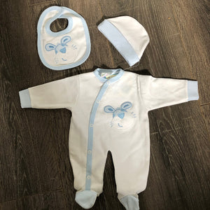Tiny Baby Premature Baby Outfit Sets White & Blue 100% Cotton