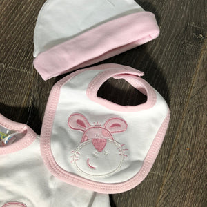 Tiny Baby Premature Baby Outfit Sets White & Pink 100% Cotton