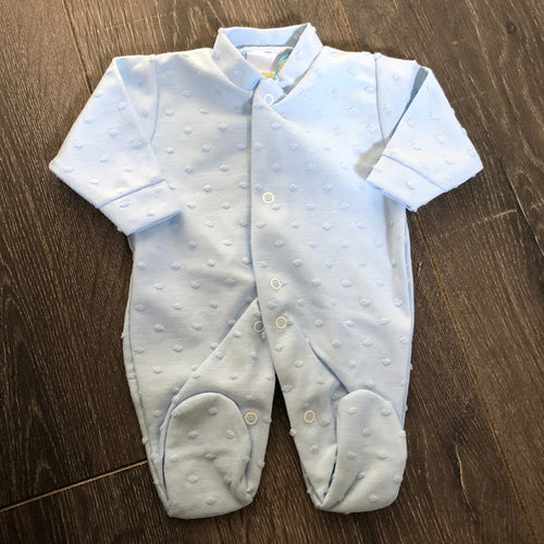 Tiny Baby Premature Baby Sleep Suits (Sleepsuits) Blue 100% Cotton