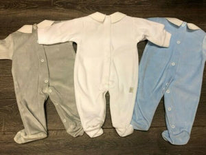 Baby Boy's or Girl's Unisex Soft Velour One Piece Sleep Suit
