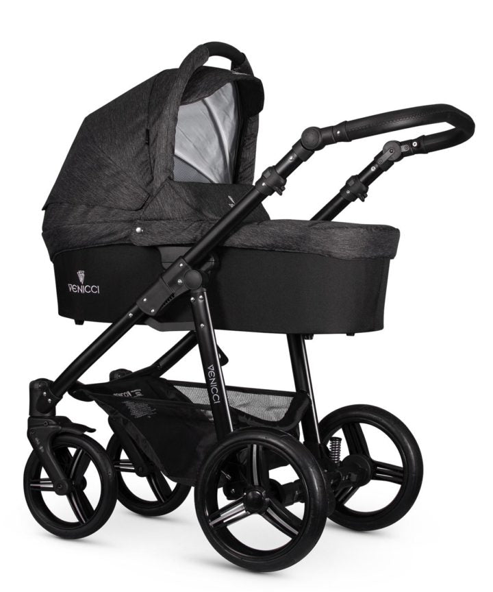 Venicci Soft Black Denim Travel System Bundle