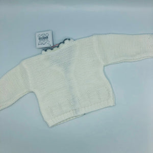 Baby Girl's White & Grey long Sleeved Cardigan