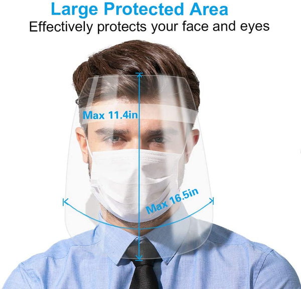 3 Pack Unisex Face Shield with Protective Clear Film Elastic Band for Both Children and Adults