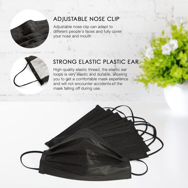 Levena 3-Ply Earloop Face Masks Black (50 Pcs)