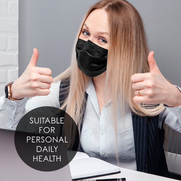 disposable black face mask