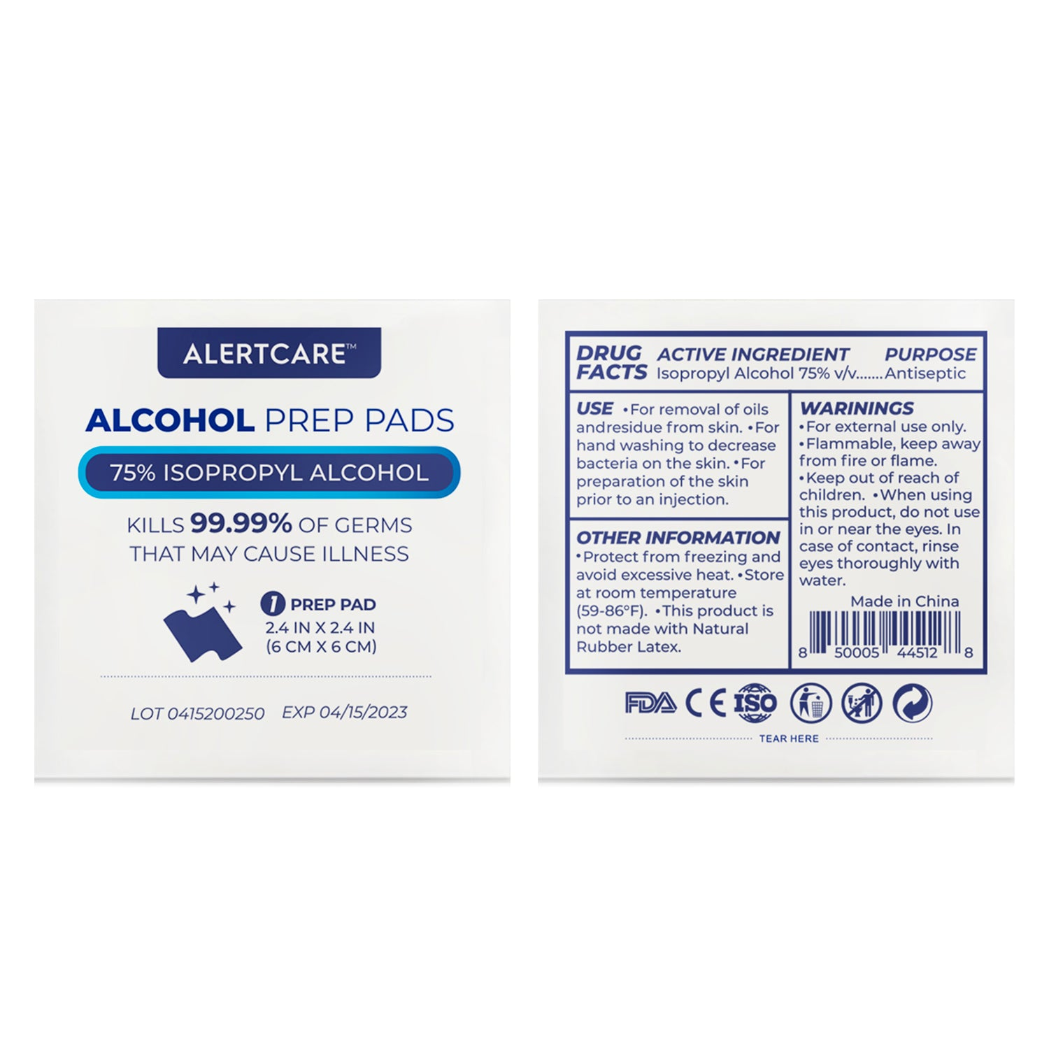 Alertcare Alcohol Prep Pads 100 Pcs (Normal Size) | 75% Alcohol Cotton Slices