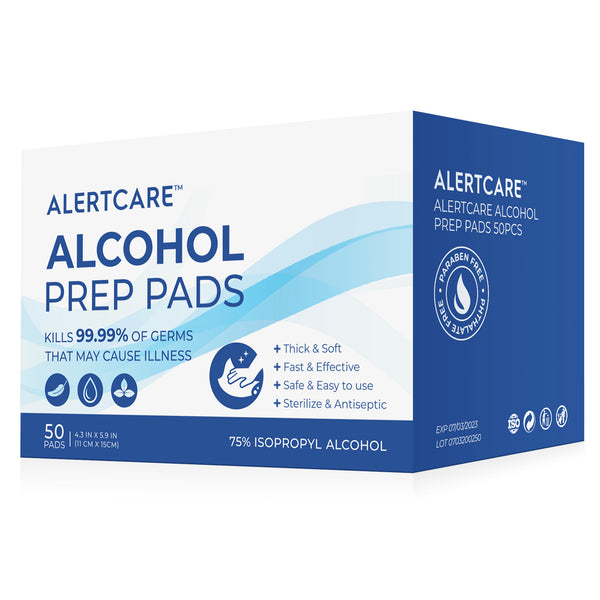 AlertCare 75% Alcohol Prep Pads 50 PCs (Large Size 4.3 x 5.9 IN)