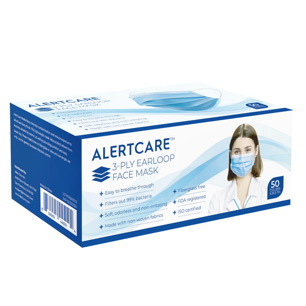 Alertcare 3-Ply Earloop Face Masks (50 Pcs)