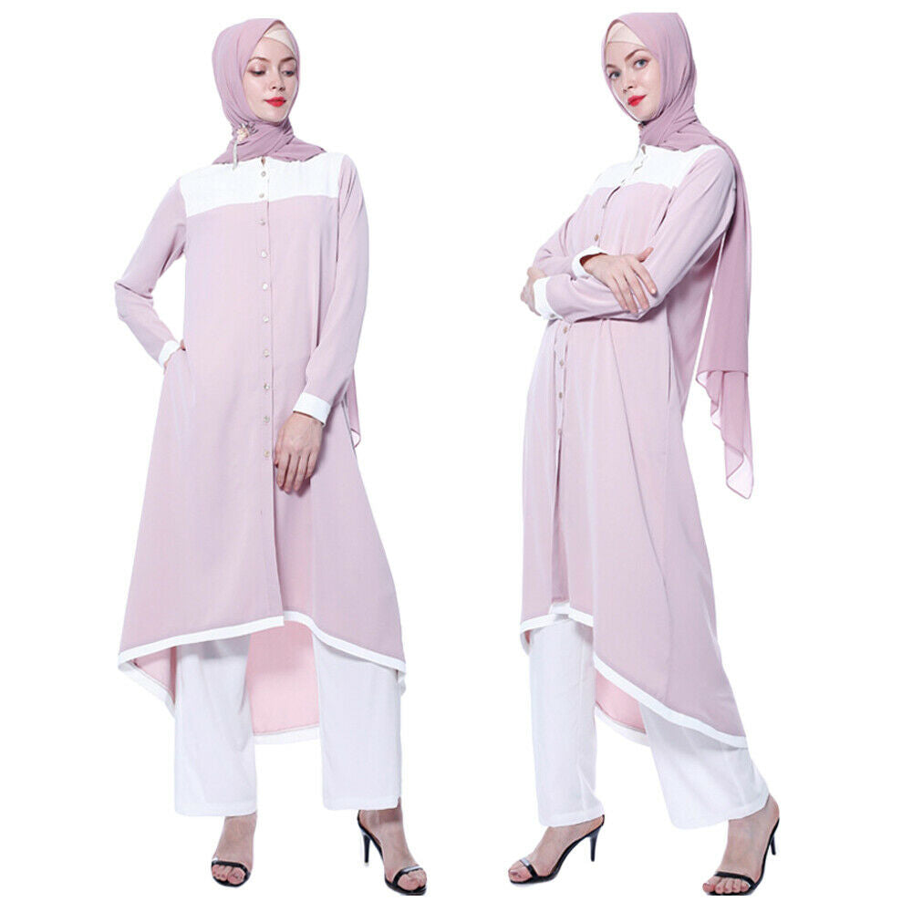 Abaya Blouse Dress+Pants Sets Khimar Jilbab