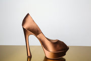YSL Satin Peep Toe