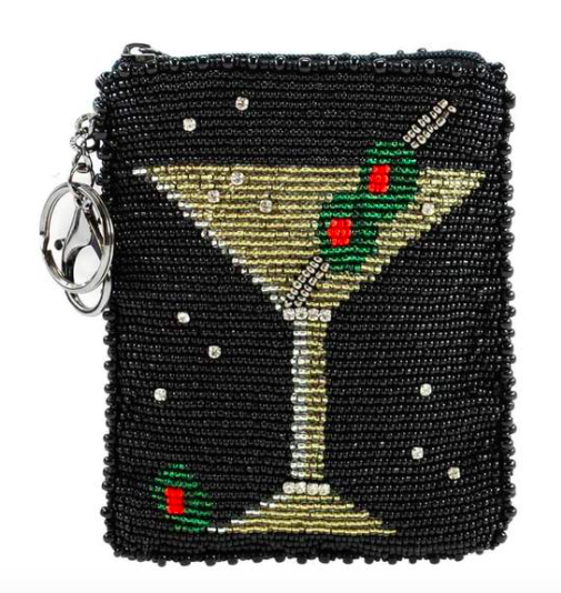 Mary Frances Martini Beaded Coin Purse-Key Fob