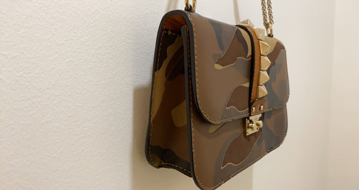 Valentino Beige/Green Camo Print Leather Rockstud Medium Flap Bag