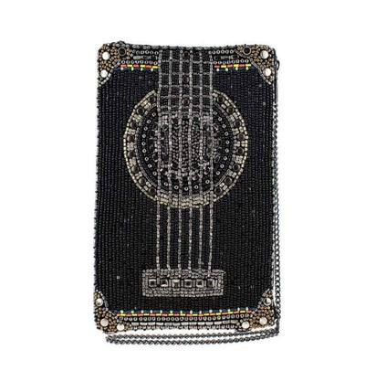 Mary Frances Strum Along Beaded Guitar Crossbody Phone Bag