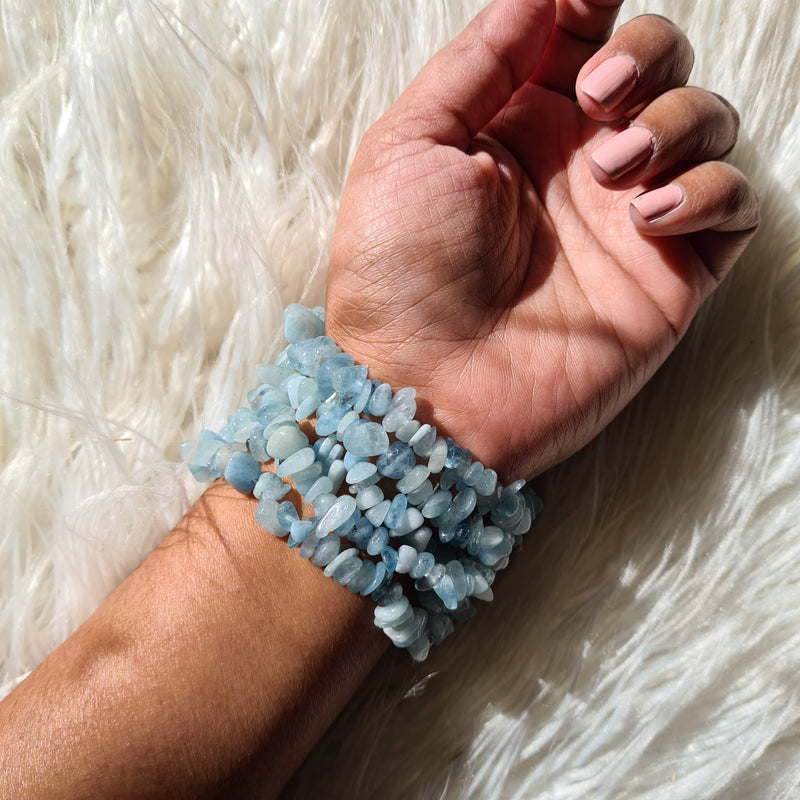 Aquamarine chips bracelet