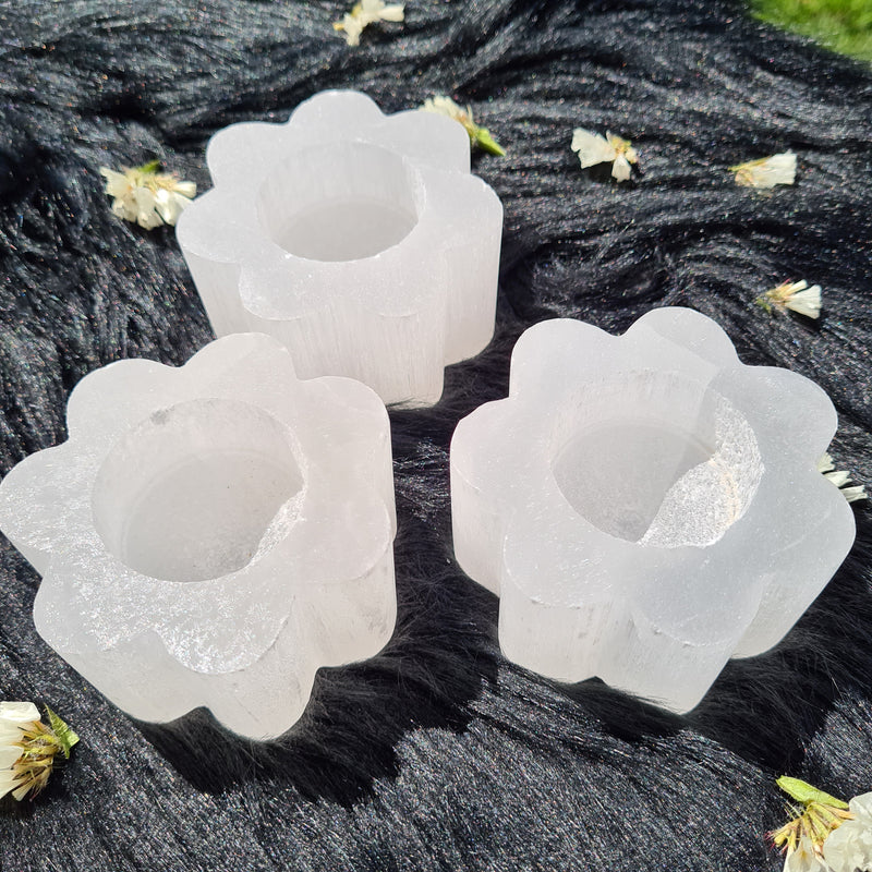 Selenite Candle Holder - Daisy