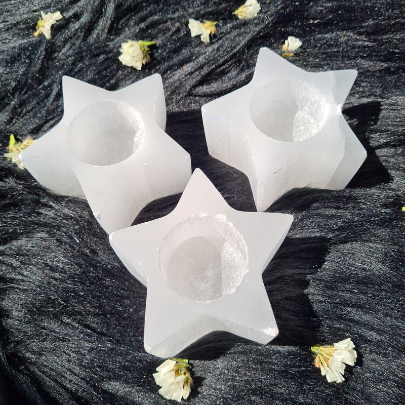 Selenite Candle Holder - Star