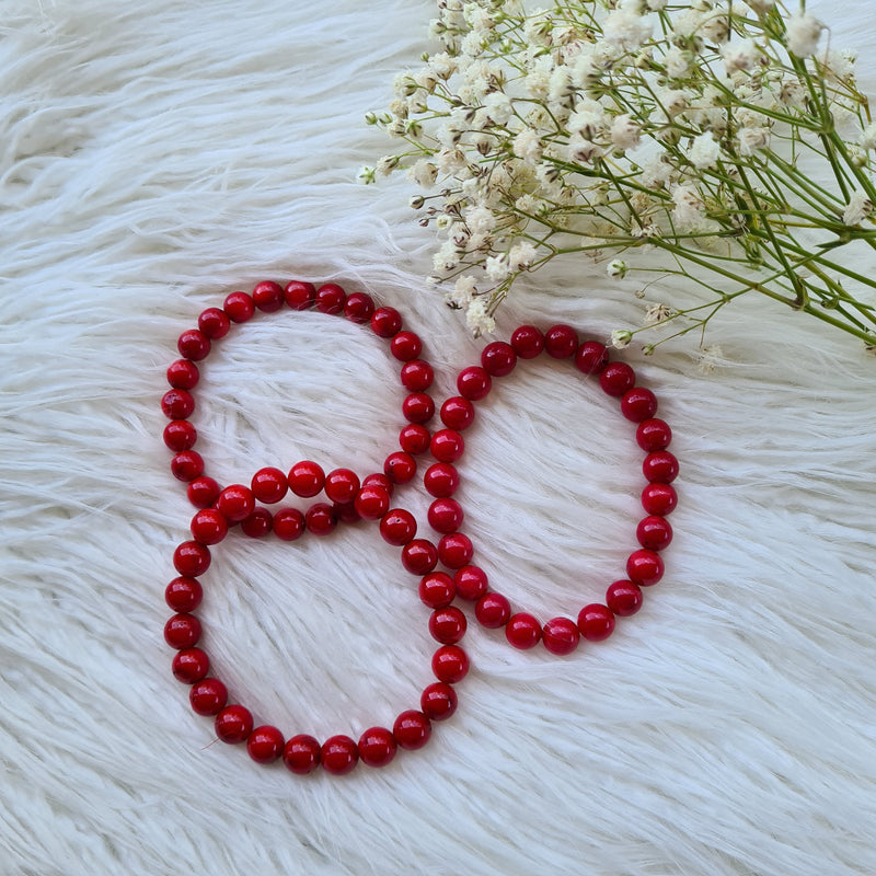 Coral Bracelet- Round beads