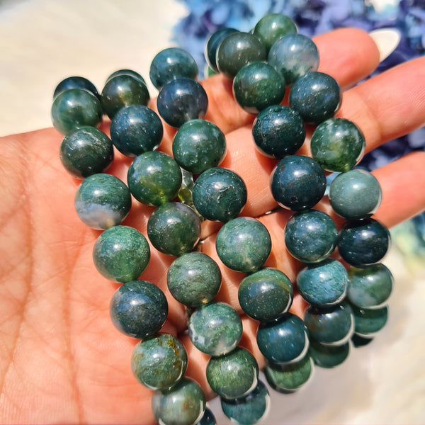 Moss Agate Bracelet- Round