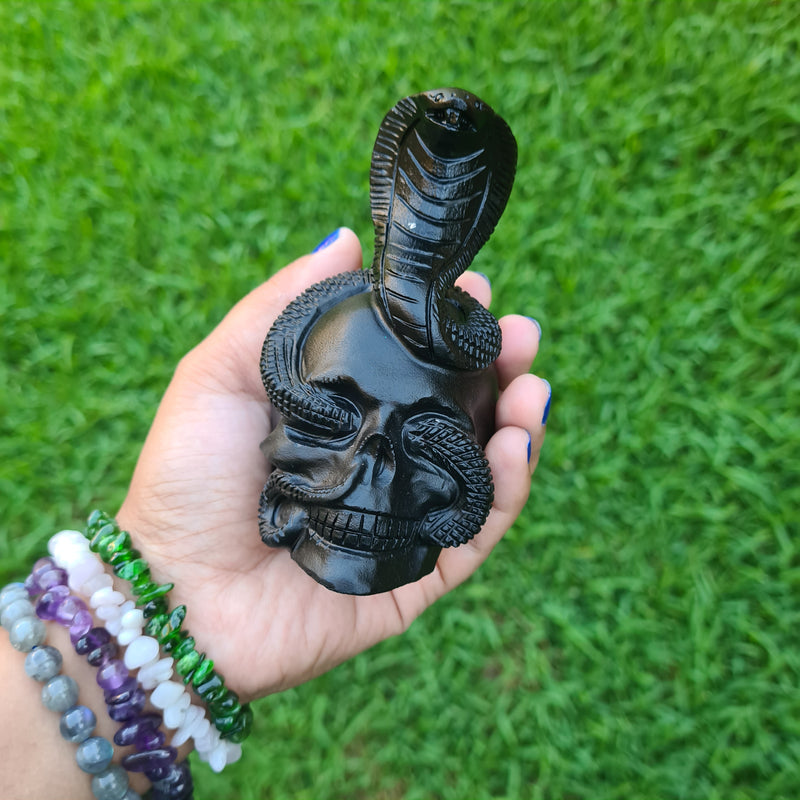 Skull with Cobra~ Black Obsidian