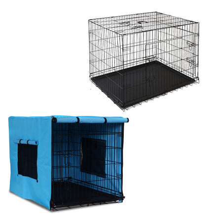 PHP 48inch Collapsible Pet Cage with Cover - Black & Blue - Pet Homes Plus