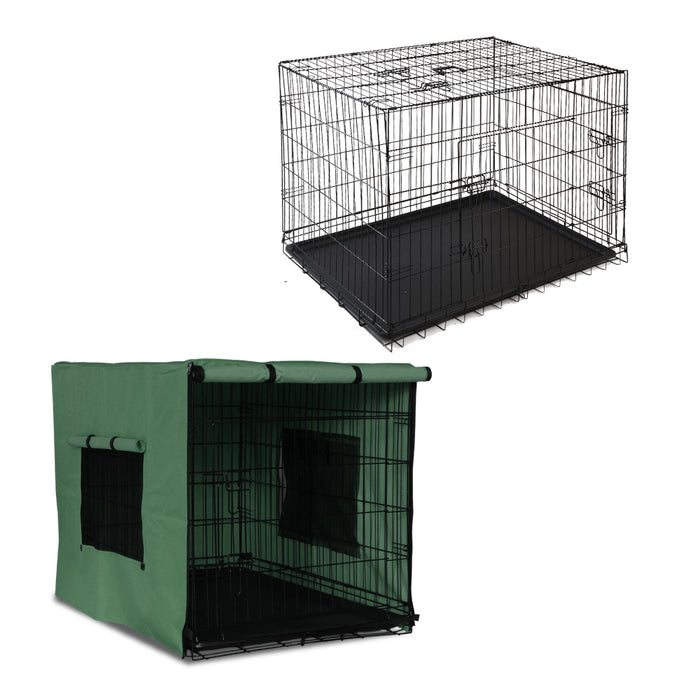 PHP 48inch Collapsible Pet Cage with Cover - Black & Green - Pet Homes Plus