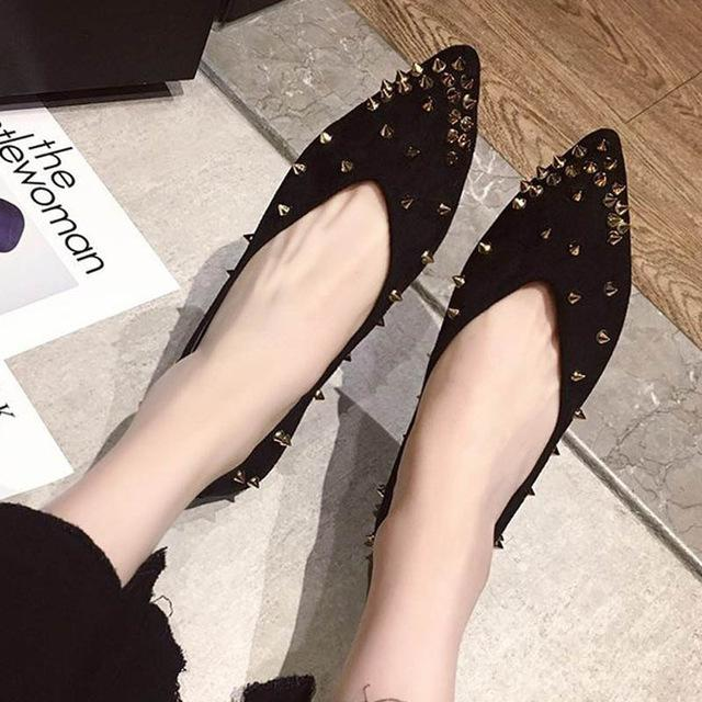 Pointed Toe Rivet Flats  Solid Shoes