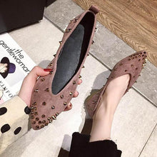 Load image into Gallery viewer, Pointed Toe Rivet Flats  Solid Shoes