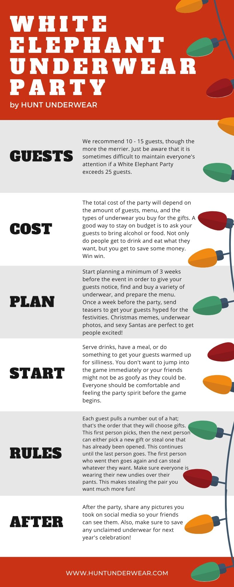 how to plan a white elephant party infographic