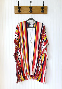 Abby-Pink-Mustard-Red-Navy Striped Kimono Wrap