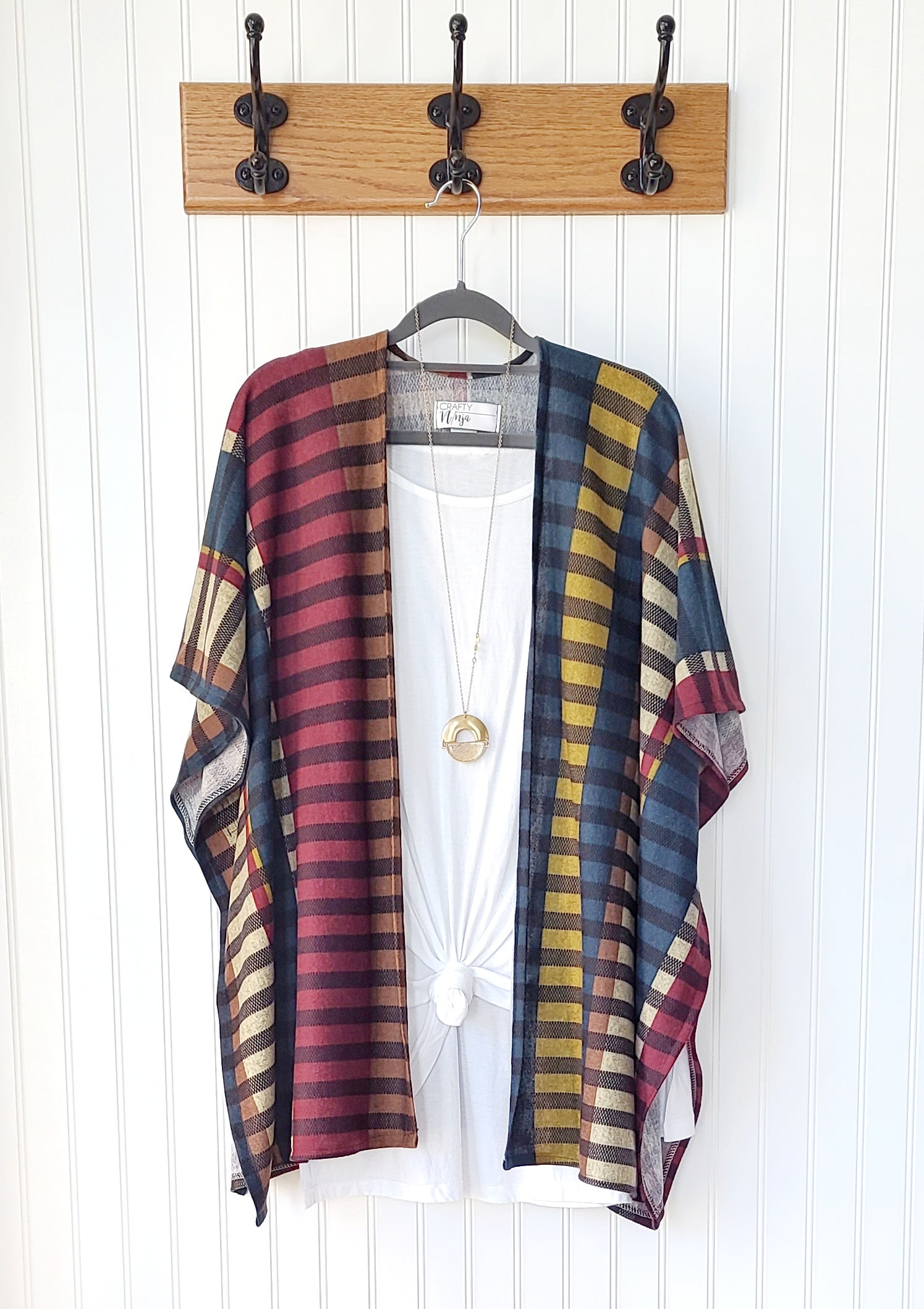 Riley-Fall Striped Sweater Weight Kimono Wrap