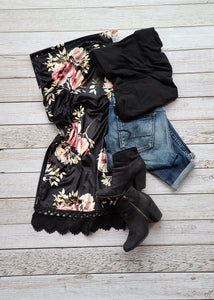 Ivy-Black and Pink Floral Kimono Wrap