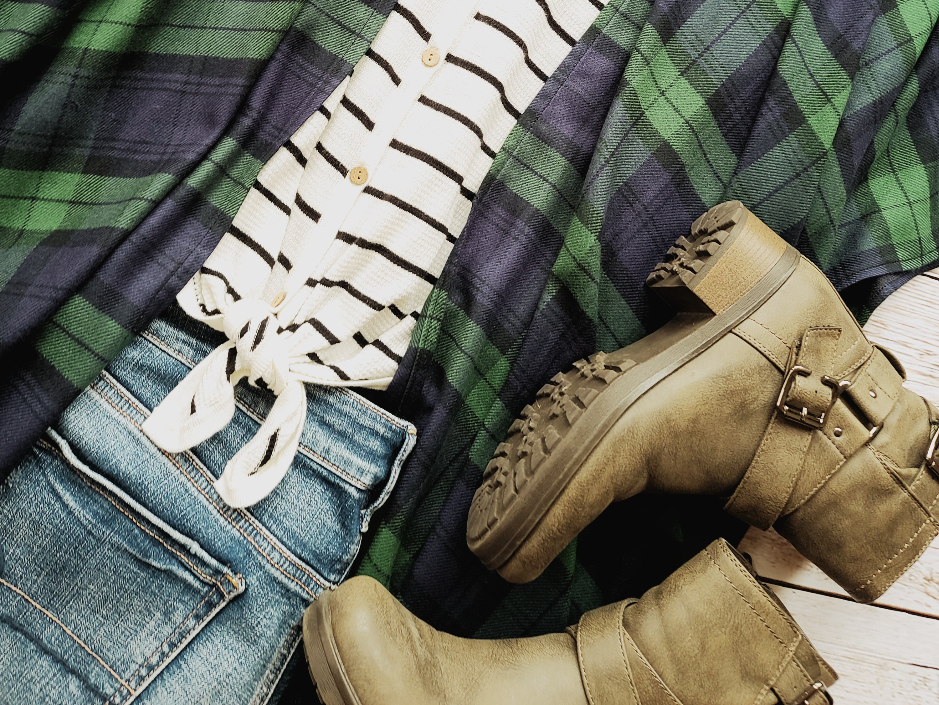 Elaine-Navy and Green Plaid